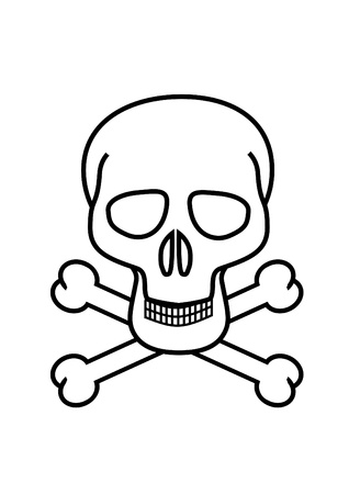 deathly: Skull and crossbones symbol no white background Stock Photo