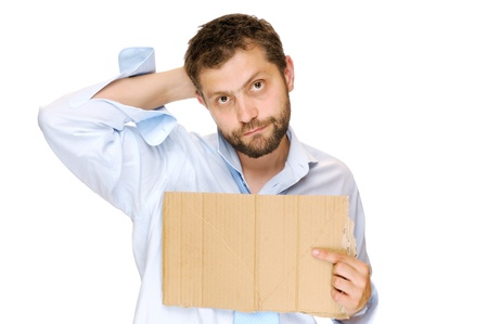 Fired businessman with messy cardboard frame  Isolated on white Stock Photo - 14284370