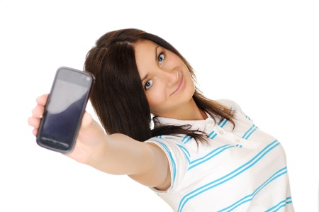 Girl shows a mobile phone, gesturing  Call me  photo