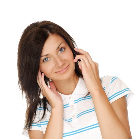 Young girl calling on mobile phone  Isolated on white background photo