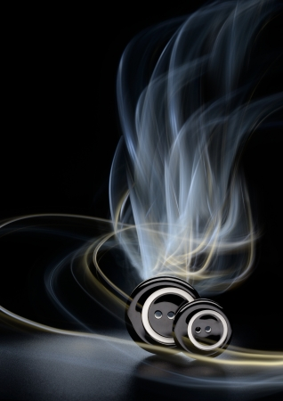 Two sewing buttons with abstract light painting effect