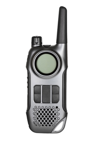 Gray walkie-talkie radio isolated on white background photo