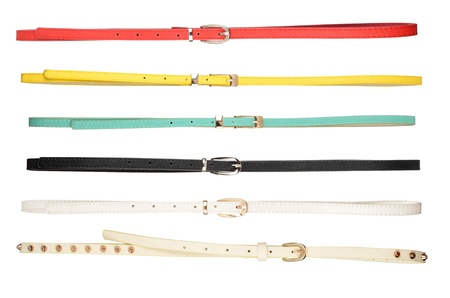 accesory: Belts  Set of different leather belts isolated on white background