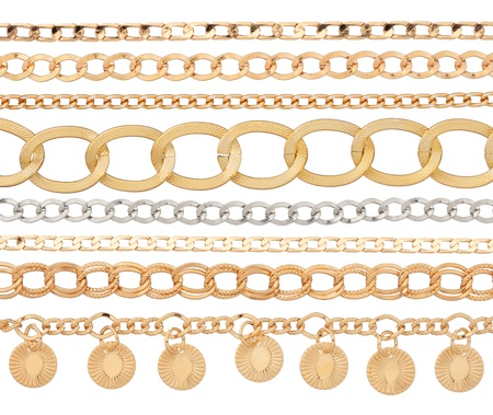 silver jewelry: Chain  Set of different metal chains isolated on white background