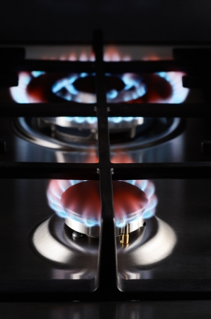 Flames of a gas stove  photo