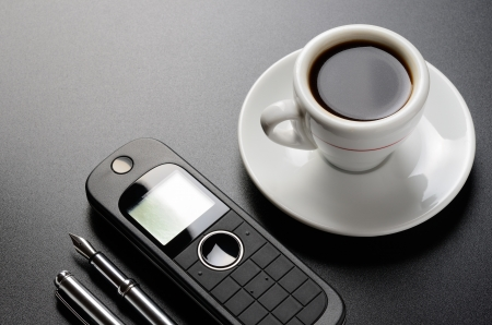 Business still life  telephone, pen, organizer, coffee  photo
