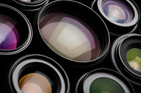 Set of camera lens different sizes and colors 版權商用圖片