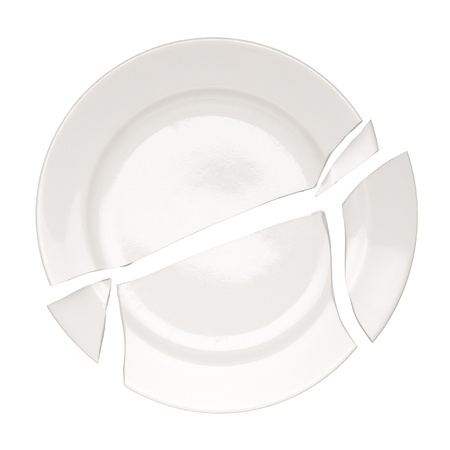 Broken plate isolated on white background