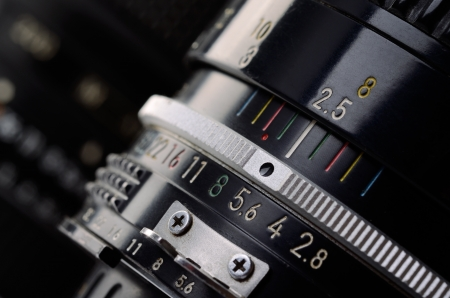macro photography: Camera lens scale close-up  Aperture and distance scale  Stock Photo