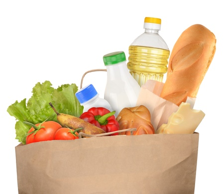 Bag of Groceries isolated on white background photo