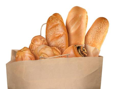 Bag with fresh baking isolated on white background