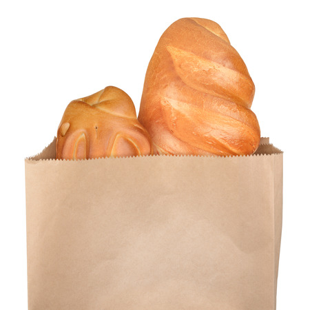 grocery bag: French bread in paper bag isolated on white