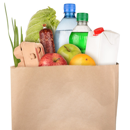 apple paper bag: Bag of groceries isolated on white background