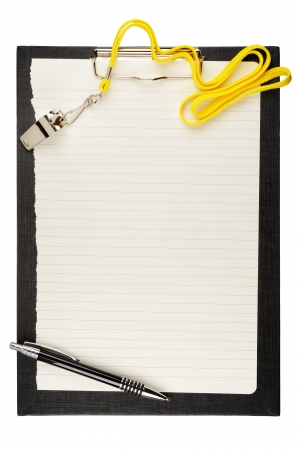 Clipboard with metal sport whistle, pen and paper sheet Stock Photo