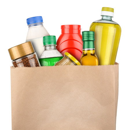 grocery bag: Bag of groceries isolated on white background