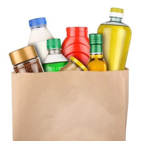Tas met boodschappen op een witte achtergrond Stockfoto