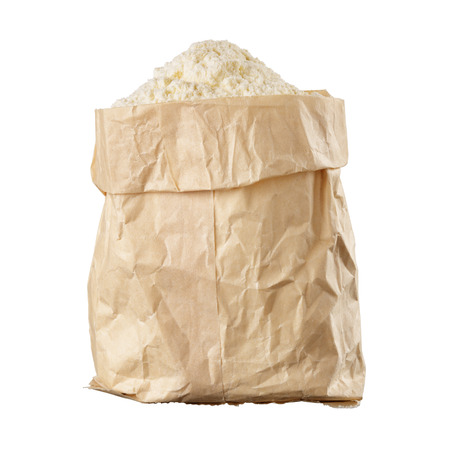 Bag of flour isolated on white background
