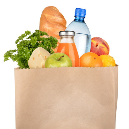 Bag of groceries isolated on white background 版權商用圖片 - 24524650