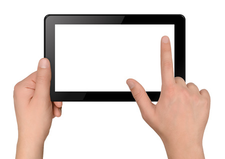 Tablet computer with hands isolated on white background photo