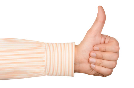 Hand with thumb up isolated on white background Stock Photo