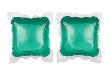 Gel laundry capsules isolated on white background. With clipping path Imagens