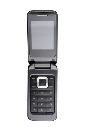Flip cell phone isolated on white background. With clipping path