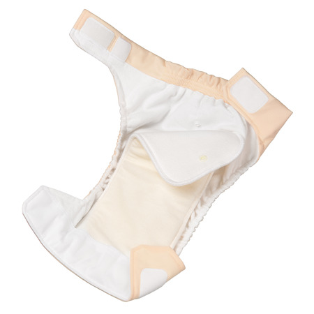 washable: Opened cloth diaper isolated on white background