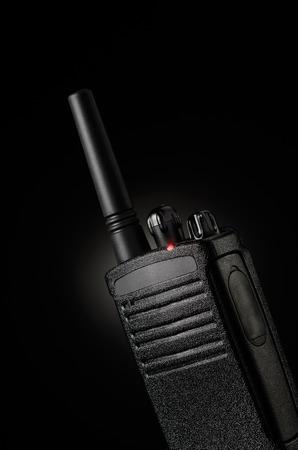 cb phone: Portable radio transceiver on black background