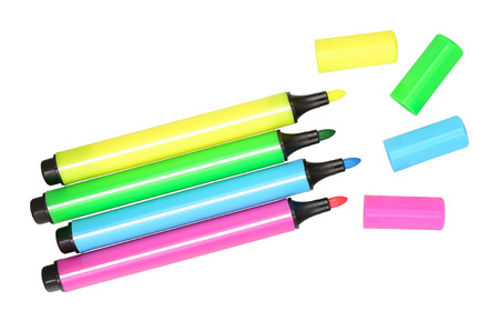 Multicolored felt pens. Isolated on white background
