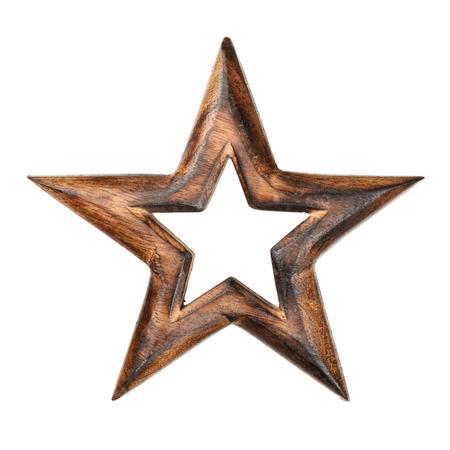 star path: Wooden star as xmas decoration isolated on white background. With clipping path