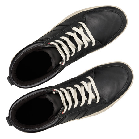Black leather sneakers isolated on white background. With clipping path