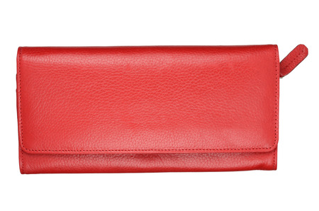 Red female wallet isolated on white background.