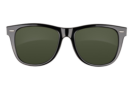wayfarer: Black sunglasses isolated on white background. With clipping path Stock Photo