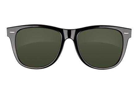 sonnenbrille: Schwarze Sonnenbrille isoliert auf weißem Hintergrund. Mit Beschneidungspfad