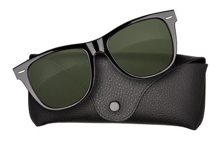 wayfarer: Black sunglasses with case isolated on white background. Stock Photo