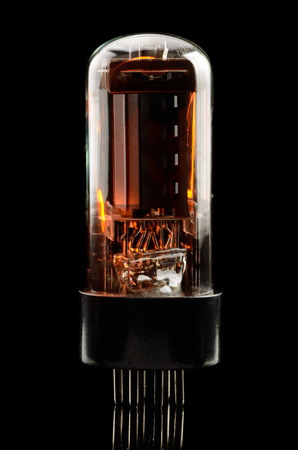 triode: Old electronic vacuum lamp other black background