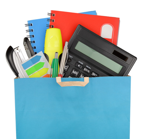 business supplies: Bag with school and office supplies isolated on white background Stock Photo