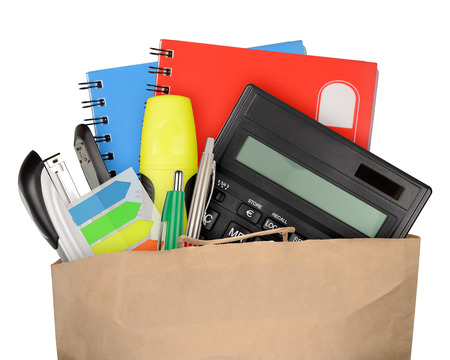 tool bag: Bag with school and office supplies isolated on white background Stock Photo