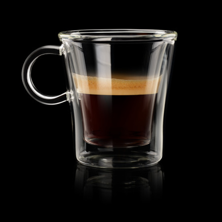 Coffee Espresso in transparent cup on black background