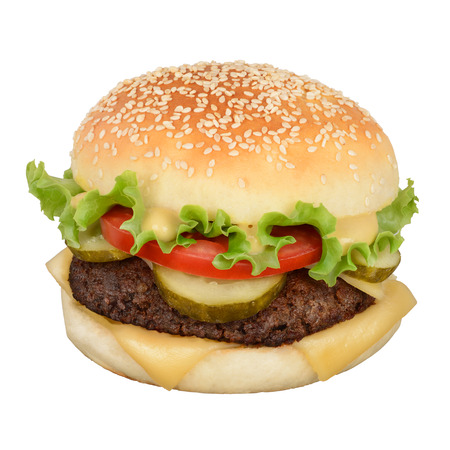 hamburger: Hamburger with cheese, pickles and mustard isolated on white background. With clipping path