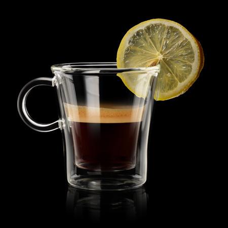 espresso: Coffee Espresso romano in transparent cup on black background