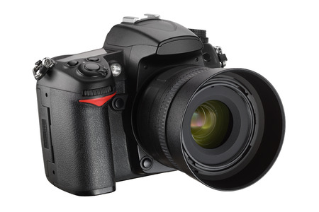 Black digital camera isolated on white background with clipping path Foto de archivo