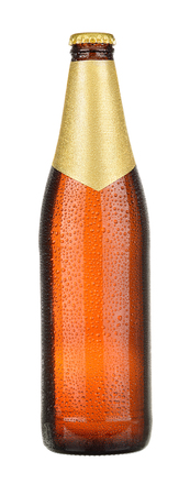 dewed: Brown wet Bottle of beer isolated on white background. With clipping path.