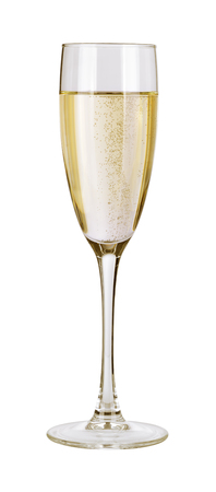 gold flute: Champagne in a glass. Isolated on white background with clipping path