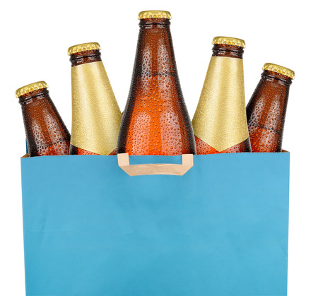Bag with brown beer bottles isolated on white background Stock Photo