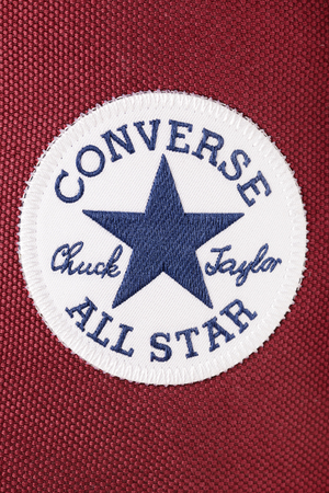 taylor: BREST, BELARUS - JUNE 25 2016: Converse All Star Chuck Taylor label on a Red classic canvas sneakers