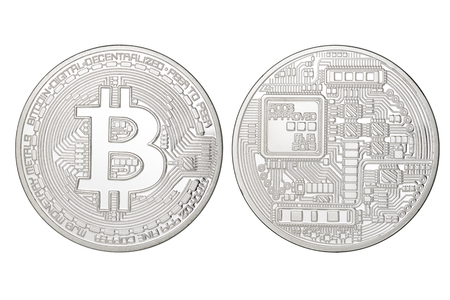 decentralized: Silver Bitcoin coin isolated on white background.