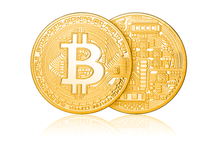 Golden Bitcoin coins isolated on white background.