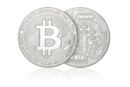 Silver Bitcoin coins isolated on white background