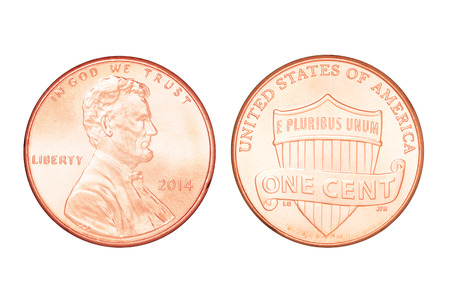 both sides: Both sides of one US cent year 2014. Isolated on white background with clipping path Stock Photo